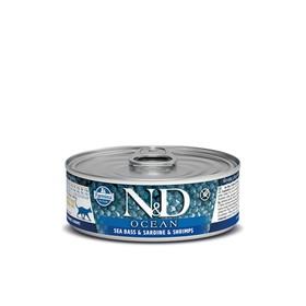 Влажный корм Farmina N&D Cat Ocean для кошек, сибас/сардина/креветки, 80 г