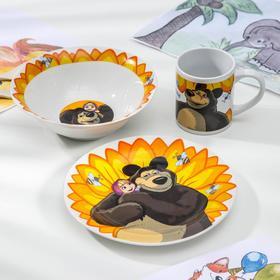 Набор «Маша и Медведь.Подсолнух», 3 предмета: салат d=13 см, тарелка d=19,5 см, кружка 250 мл