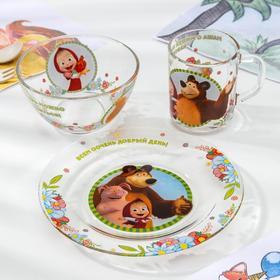 """Набор посуды детский """"Маша и Медведь. Добрый день"""", 3 предмета: кружка 250 мл, салатник 13 см, тарелка 19,5 см"""