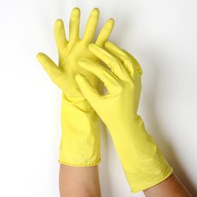Перчатки резиновые с внутренним хлопковым напылением «Др. Клин», размер L, пара 33 гр, цвет жёлтый