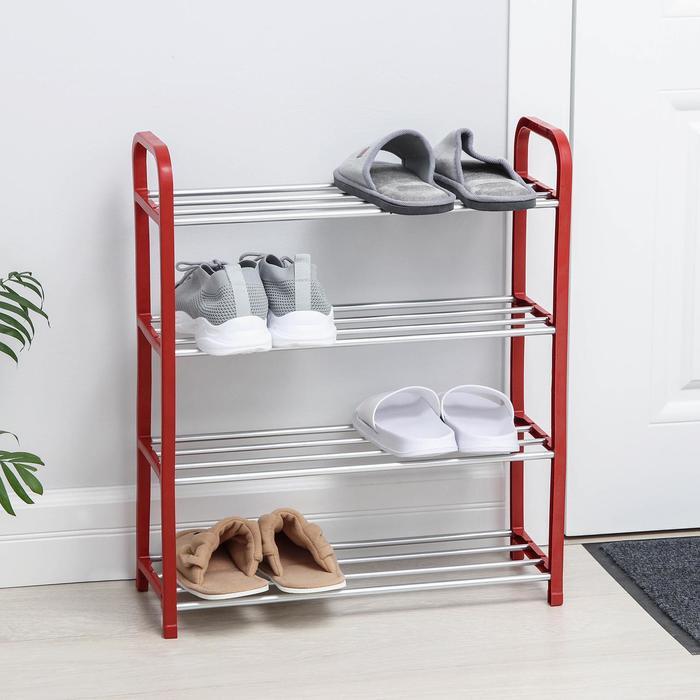 Полка для обуви 4 яруса, 50х19х60 см, цвет красный