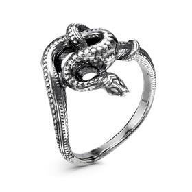 """Кольцо """"Змея"""" узел, посеребрение с оксидированием, 17,5 размер"""