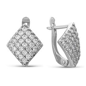 Rhombus earrings large, rhodium.