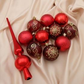 """Набор шаров пластик с верхушкой 21 шт """"Новогодний"""" (20 шаров d-6 см, верхушка) красный"""
