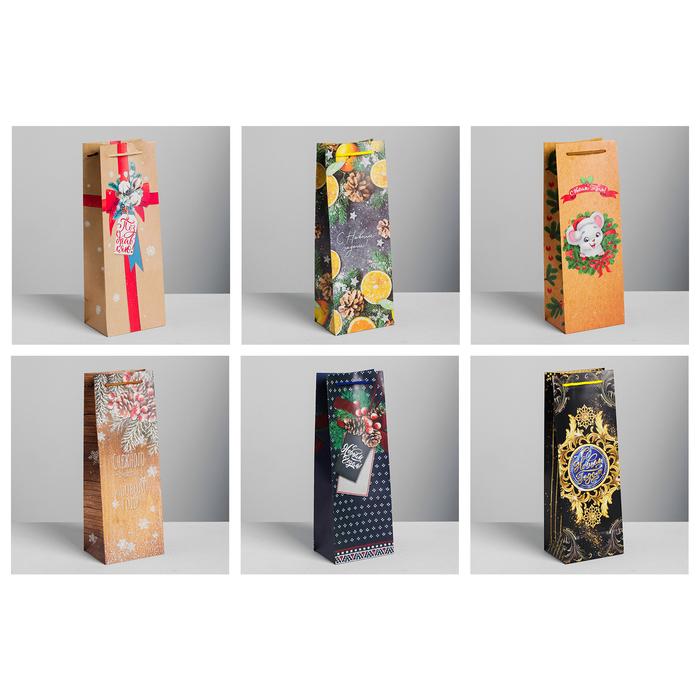 Набор пакетов крафт под бутылку «Счастья в Новом году!», 13 × 36 × 10 см. 6 шт.