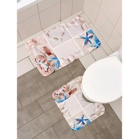 Набор ковриков для ванны и туалета «Морская бутыль», 2 шт: 40×45, 45×75 см