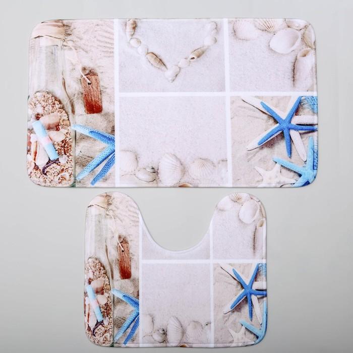 Набор ковриков для ванны и туалета Доляна «Морская бутыль», 2 шт: 40×45, 45×75 см