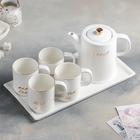 Набор чайный Sweet, 6 предметов: чайник 920 мл, 4 кружки 250 мл, поднос, цвет белый - фото 638669