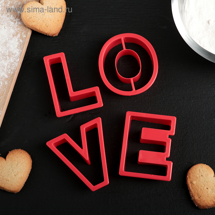 """A set of forms for cutting out biscuit 4-piece """"Love"""""""