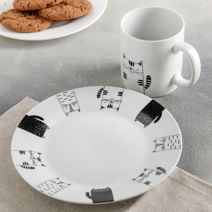 Набор посуды Family Cats, 2 предмета: кружка 300 мл, тарелка