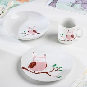 Набор посуды «Совушка», 3 предмета: кружка 300 мл, тарелка, глубокая тарелка