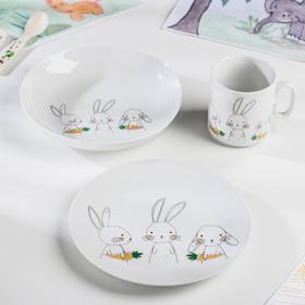 Набор посуды Bunny, 3 предмета: кружка 300 мл, тарелка, глубокая тарелка