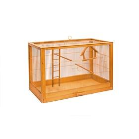 """Клетка для птиц из массива дерева """"Летняя веранда-5"""", укомплектованная, 71х33,5х51 см, клён   450105"""