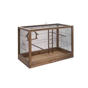 "Клетка для птиц из массива дерева ""Летняя веранда-2"" без наполнения, 31х23,5х25см, палисандр"