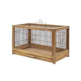 """Клетка для птиц из массива """"Летняя веранда-4"""", укомплектованная, 56 х 30 х 35 см, палисандр   450105"""