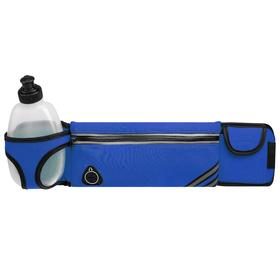 Bag sports belt 45x9 cm with a bottle 15x8x3 cm, 2 pockets, color blue