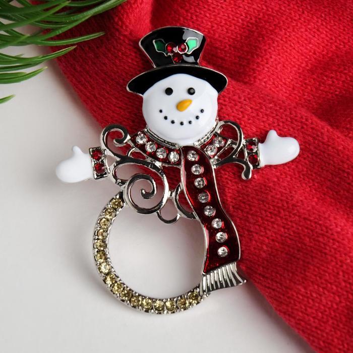 """Брошь """"Новогодняя сказка"""" снеговик контурный, цветная в золоте"""