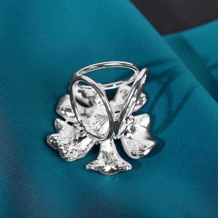 """Кольцо для платка """"Цветок"""" космея, цвет белый в серебре"""