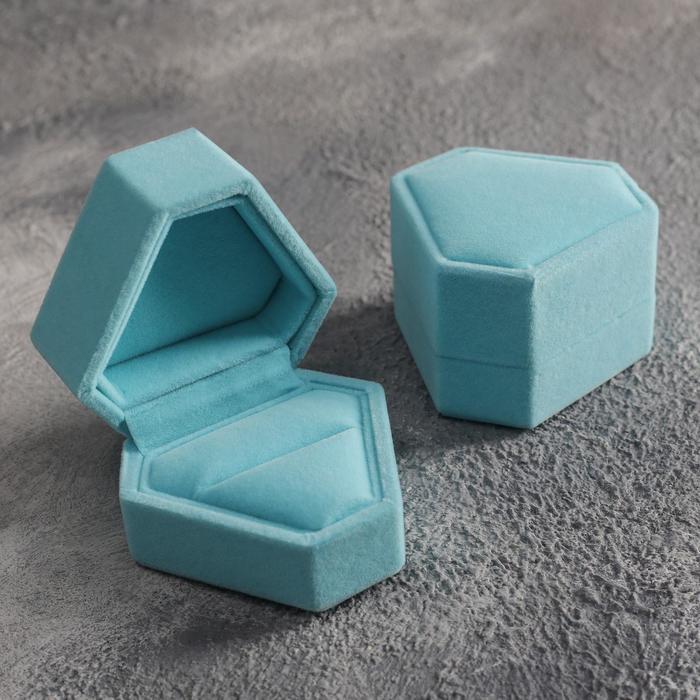 """Футляр под кольцо """"Кристалл"""", 6*6, цвет голубой - фото 798249360"""