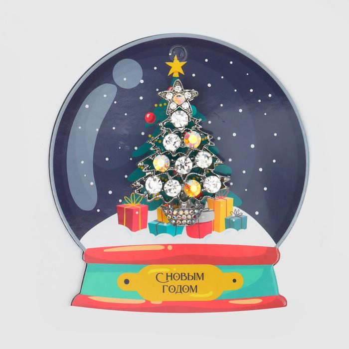 """Брошь """"Новогодняя на шаре"""" ёлочка, цвет радужный в серебре"""
