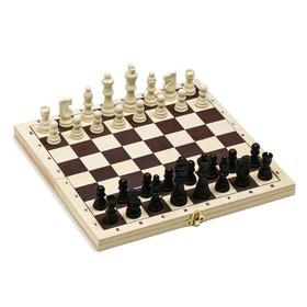 Шахматы, доска дерево 30х30 см, король h=7.8 см, пешка h=3.5 см