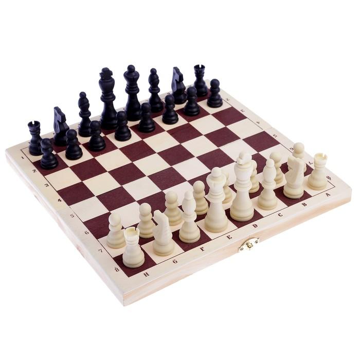 Настольная игра 2в1: шашки d=2.6 см, шахматы, король h=8 см, пешка h=3.5 см, поле 30х30 см