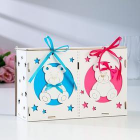 """Коробка для денег """"На новорожденных"""", розово-голубая, сборная, 27,5*12,5*19"""
