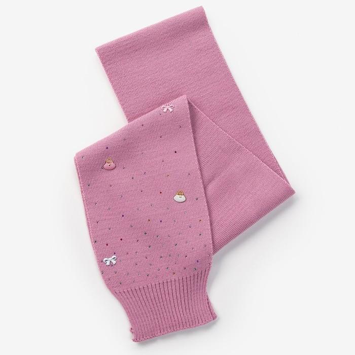 Шарф для девочки, размер 132х14см, цвет сиреневый - фото 105568150
