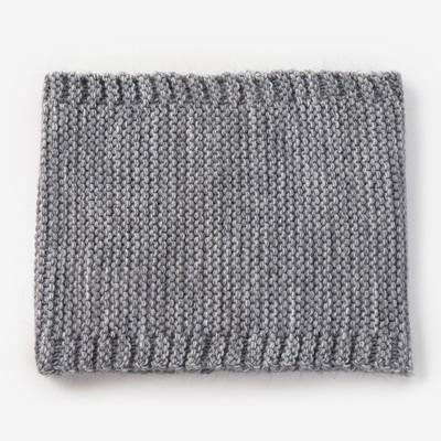 Шарф-снуд для мальчика, размер 48х18 см, цвет серый