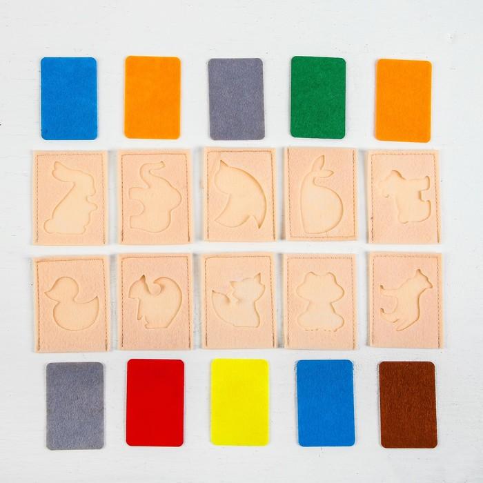"""Развивающий набор карточек """"Мир животных"""" из фетра,10 штук."""