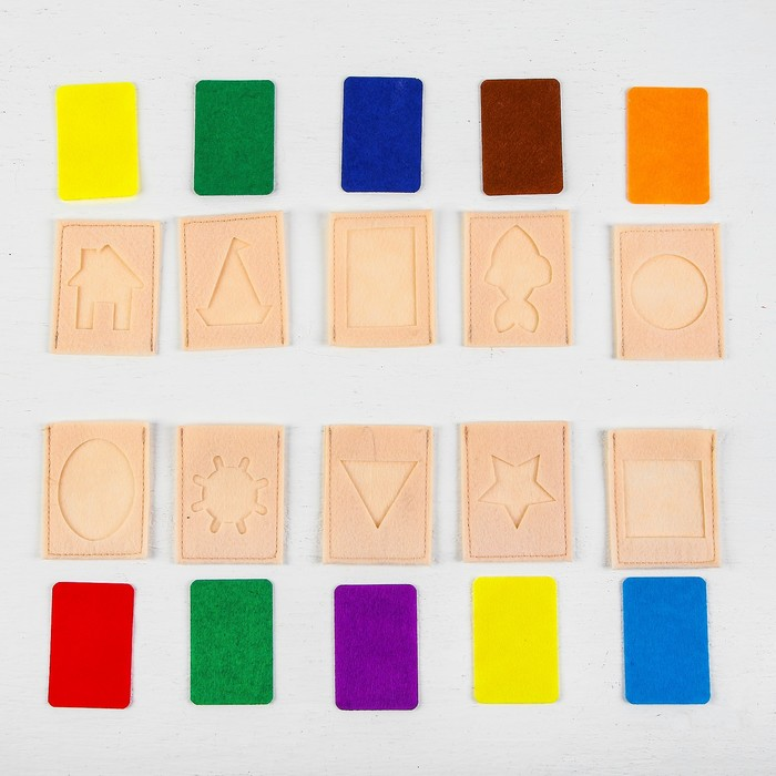 """IQ карточки обучающие """"Формы и цвета """" из фетра, 10 штук"""