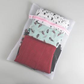 Мешок для стирки, 40×50 см, крупная сетка, цвет белый - фото 4636482