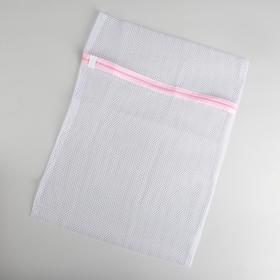 Мешок для стирки, 40×50 см, крупная сетка, цвет белый - фото 4636483