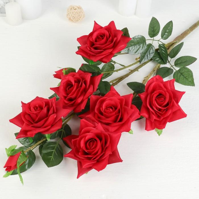 """Цветы искусственные """"Роза Компэшн"""" 11*59 см, красный - фото 4456149"""
