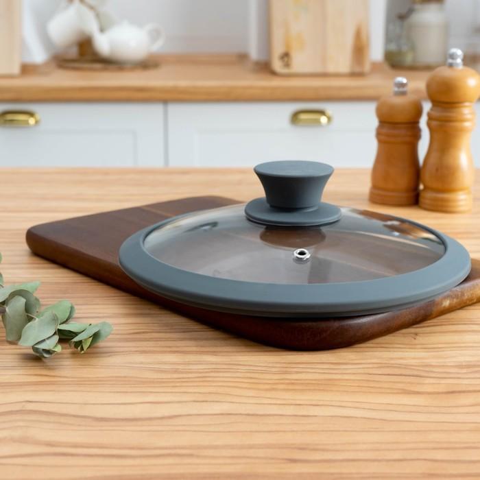 Крышка стеклянная с силиконом, 20 см, цвет МИКС - фото 223810
