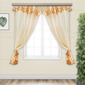 Set of curtains for the kitchen Sofia with a pelmet 280x160 cm, gold, PE 100%
