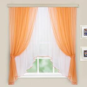 Комплект штор для кухни Шарм 285х160 см, персик-молочный, пэ 100%