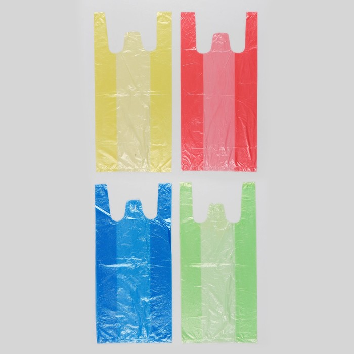 """Пакет """"4 цвета"""", полиэтиленовый, майка, цветная, 40х20 см, 8 мкм"""