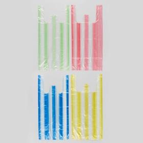 """Пакет """"4 цвета"""", полиэтиленовый, майка, цветная полоса, 40х20 см, 8 мкм"""