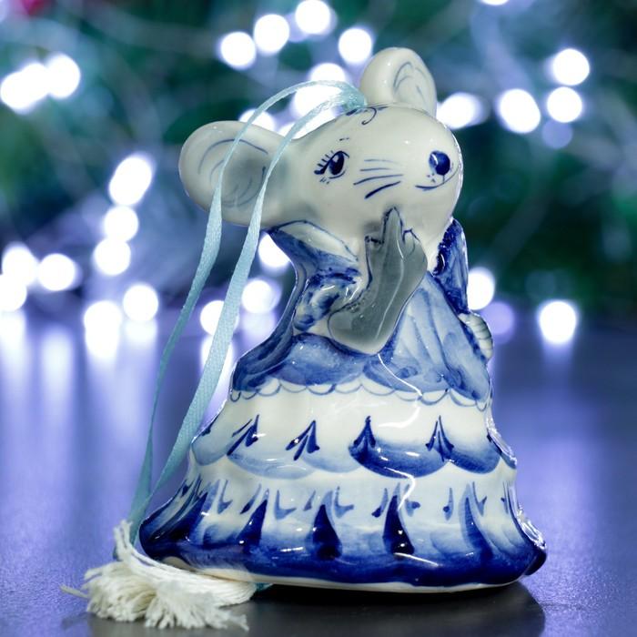"""Колокольчик """"Мышка в платье"""" 12см"""