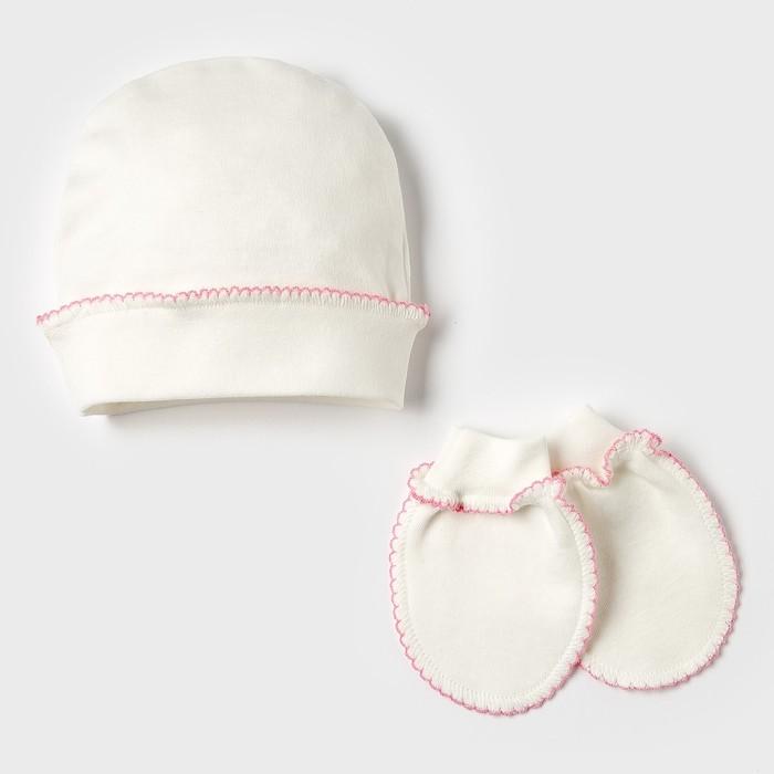 Комплект (шапочка, рукавички), цвет бежевый/розовый - фото 1958164