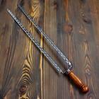 Двойной вилка-шампур с деревянной ручкой, 60см