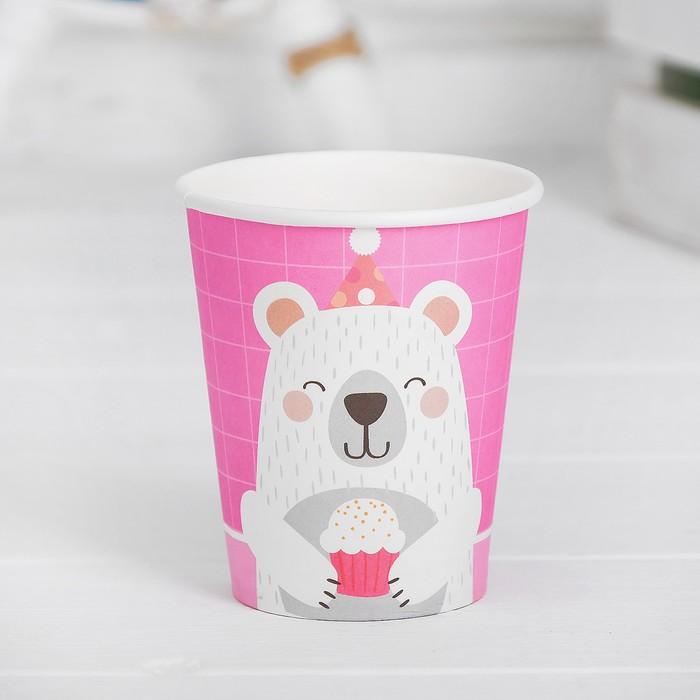 Стакан бумажный «Мишка с кексом», набор 6 шт., цвет розовый
