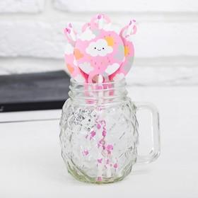 Трубочки для коктейля «Облачко», набор 10 шт., цвет розовый