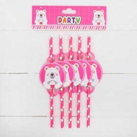 Трубочки для коктейля «Мишка с кексом», набор 10 шт., цвет розовый