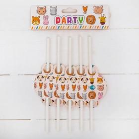 Трубочки для коктейля «Животные», набор 10 шт.