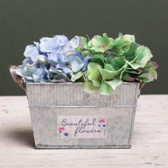 Металлическое кашпо для цветов Beautiful flowers, 18 × 11 × 11 см - фото 798250684