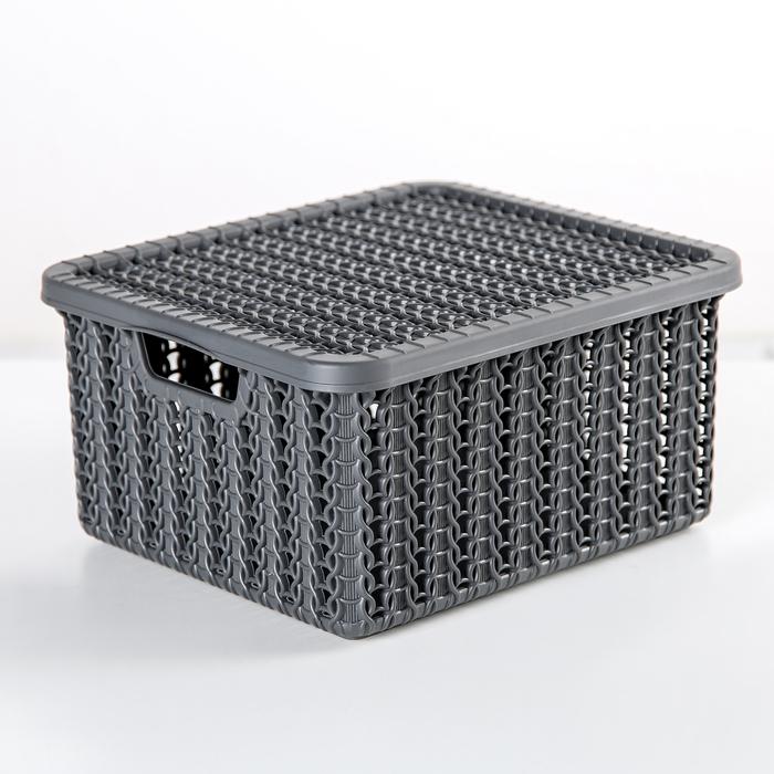 """Коробка 1,5 л """"Вязание"""", с крышкой, цвет графитовый - фото 150909407"""
