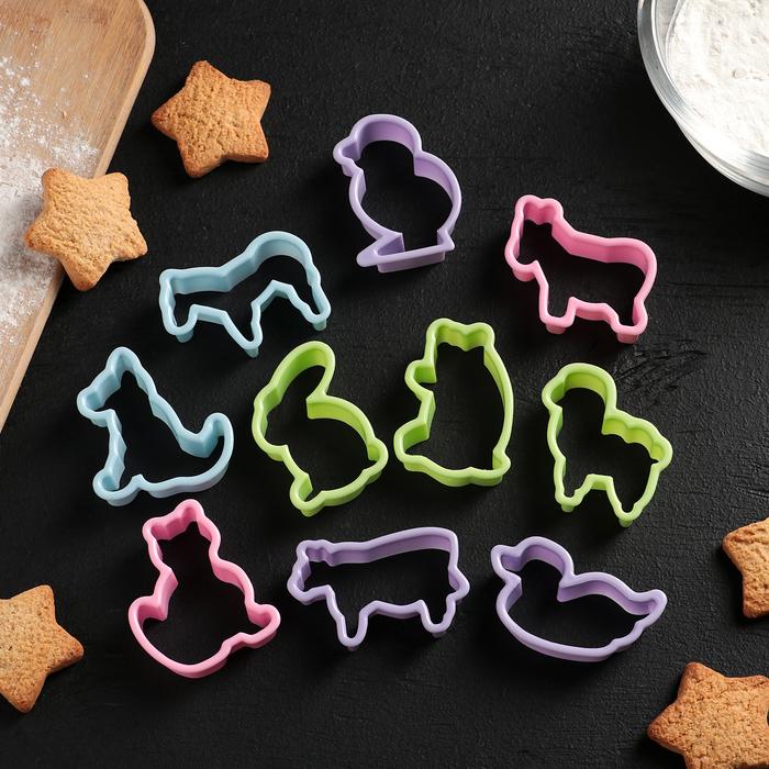 """Набор форм для печенья 5,5×4,5×1,7 см """"Зоопарк"""", 10 шт, цвет МИКС"""