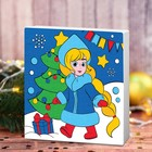 """Painting on canvas """"snow maiden and Christmas tree"""" 15*15 cm"""